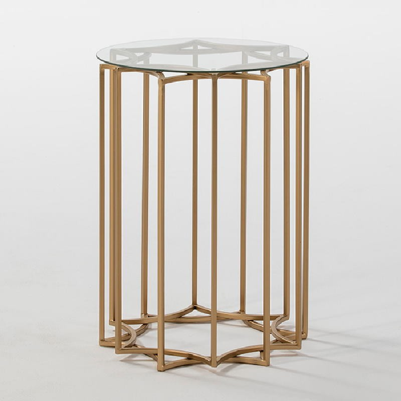 Auxiliary Table 46X46X65 Glass Metal Golden