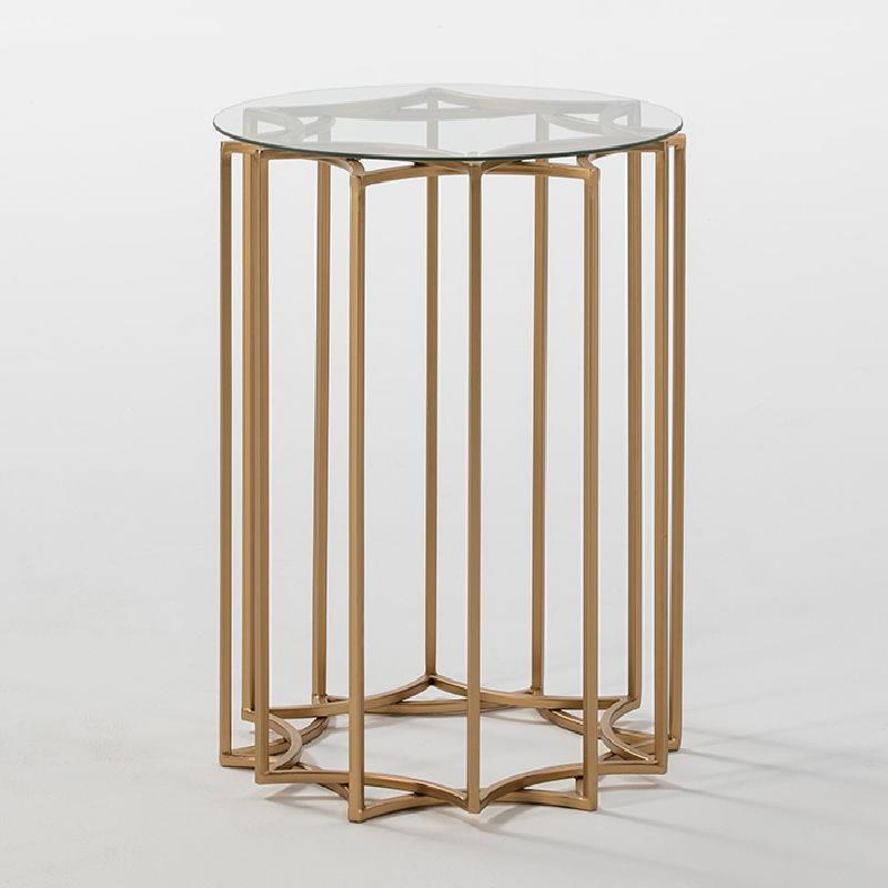 Hilfstisch 46X46X65 Glas / Metall Golden