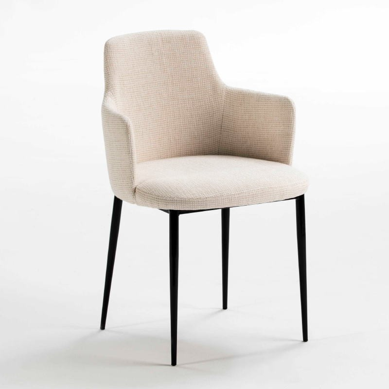 Chaise accoudoirs 54x55x87 Métal Noir tissu Blanc Cassé - image 52980