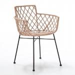 Chair 61X57X76 Metal Black Wicker Caramel