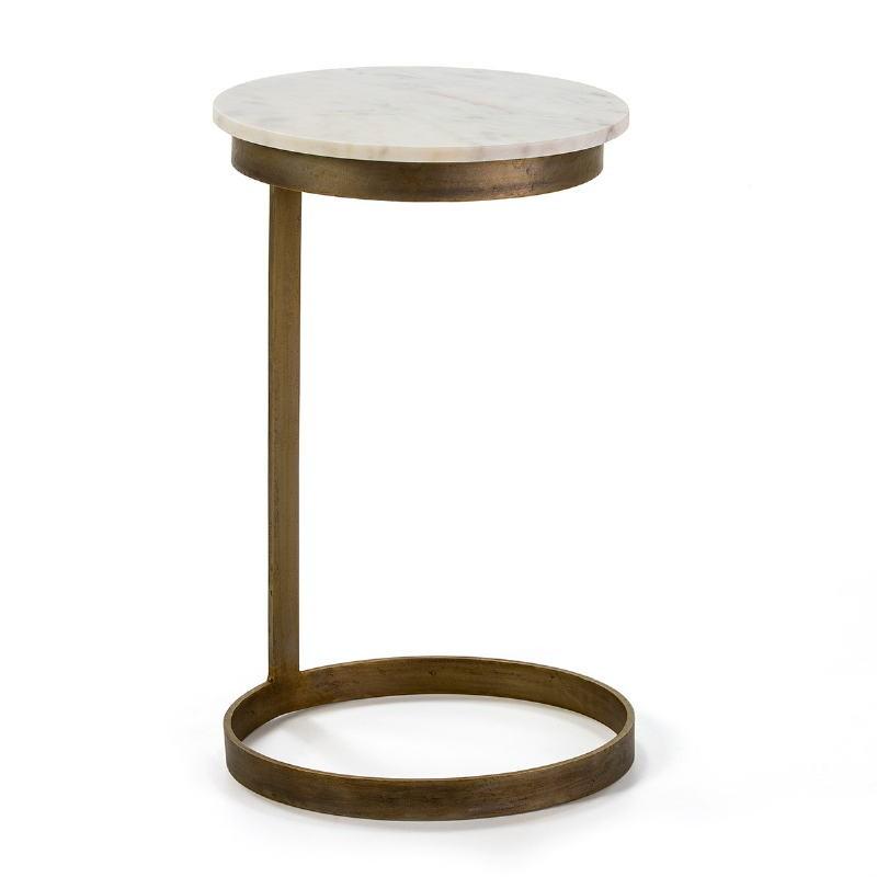 Table d'appoint, bout de canapé 40x65 Métal Doré Marbre Blanc - image 53012