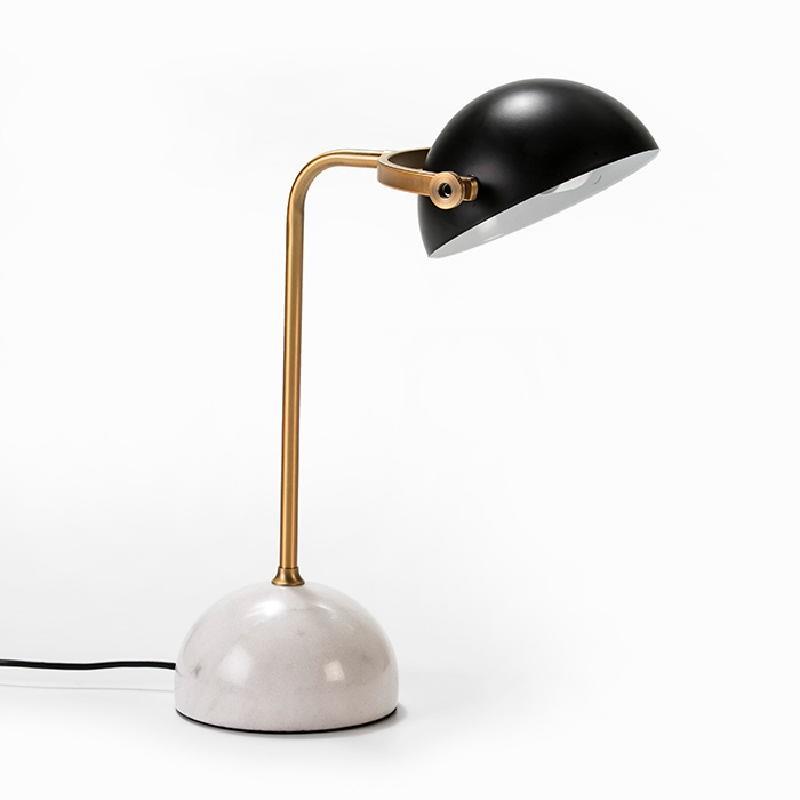 Lampe de Table avec abat-jour 36x25x48 Marbre Blanc Métal Doré Noir