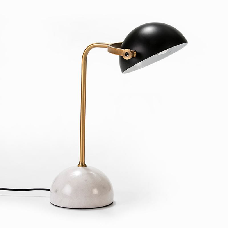 Table Lamp With Lampshade 36X25X48 Marble White Metal Golden Black - image 53015