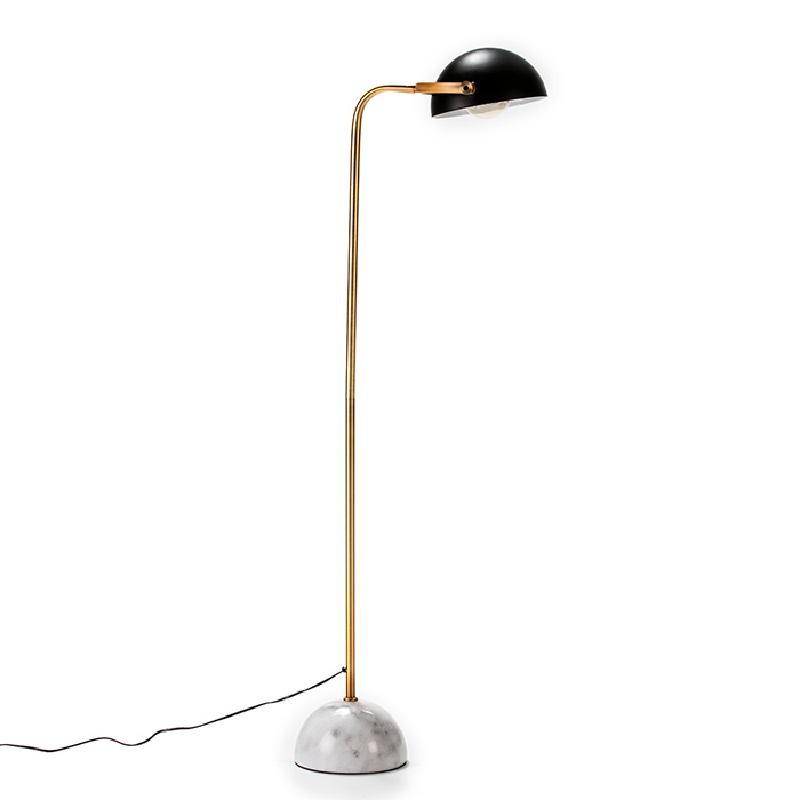 Lampada A Stelo Con Paralume 32X38X145 Marmo Bianco Metallo Dorato Nero