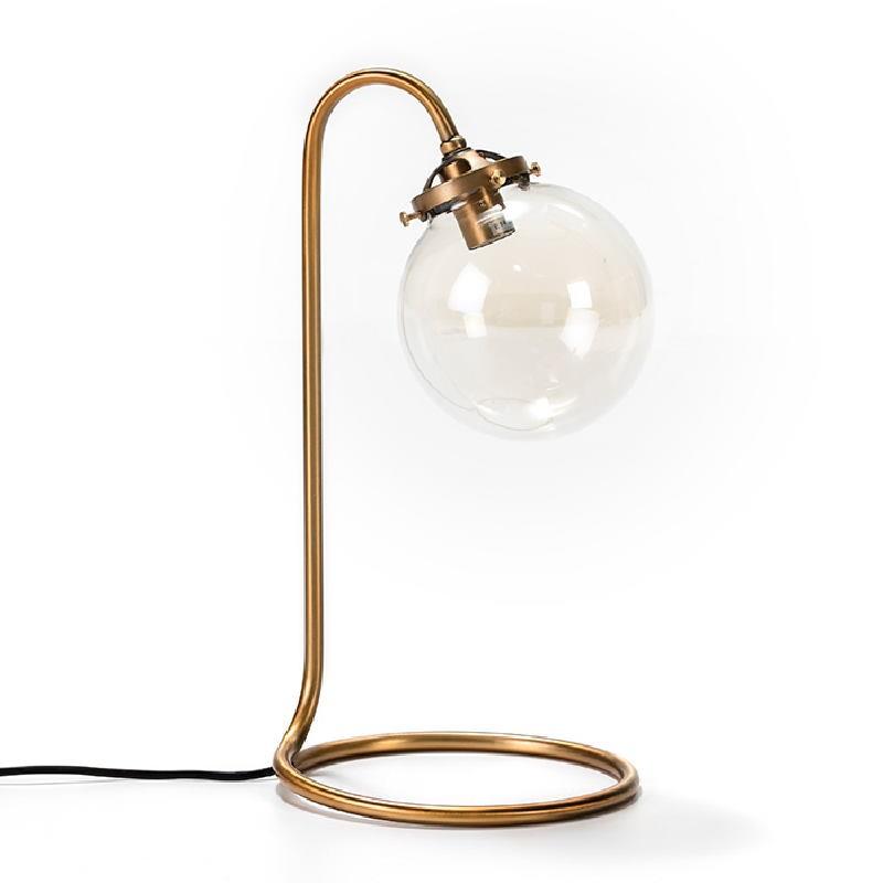 Lampe de Table avec abat-jour 22x22x43 Verre Métal Doré - image 53021