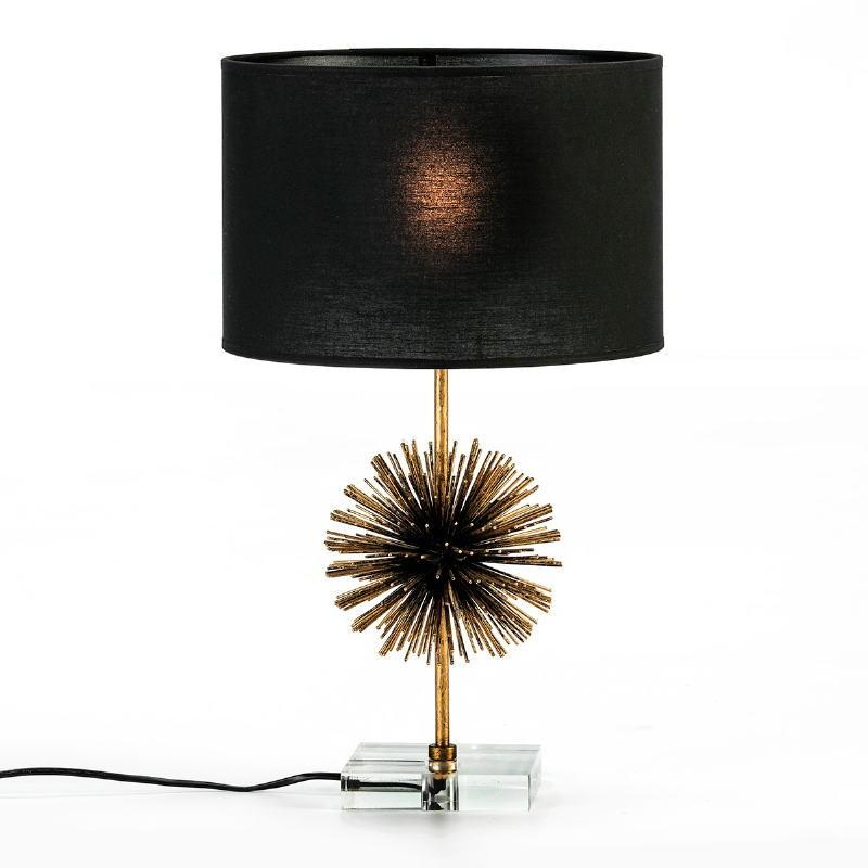 Lampe de Table sans abat-jour 16x16x36 Métal Doré Acrylique Transparent