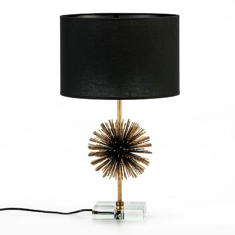 Table Lamp Without Lampshade 16X16X36 Metal Golden Acrylic Transparent - image 53031