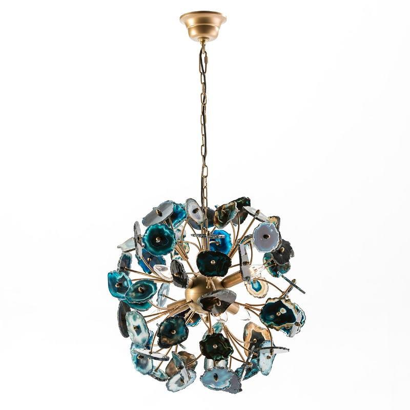 Lampada A Sospensione 55X55X55 Metallo Dorato Agata Blu - image 53036