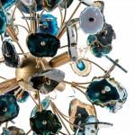 Lampada A Sospensione 55X55X55 Metallo Dorato Agata Blu