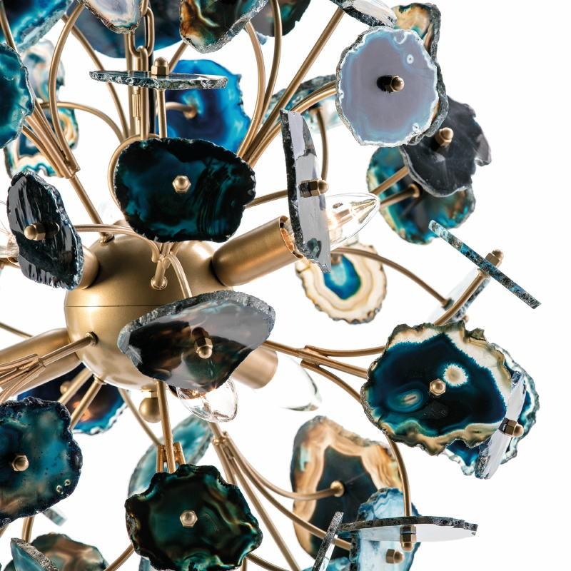 Lampada A Sospensione 55X55X55 Metallo Dorato Agata Blu - image 53037
