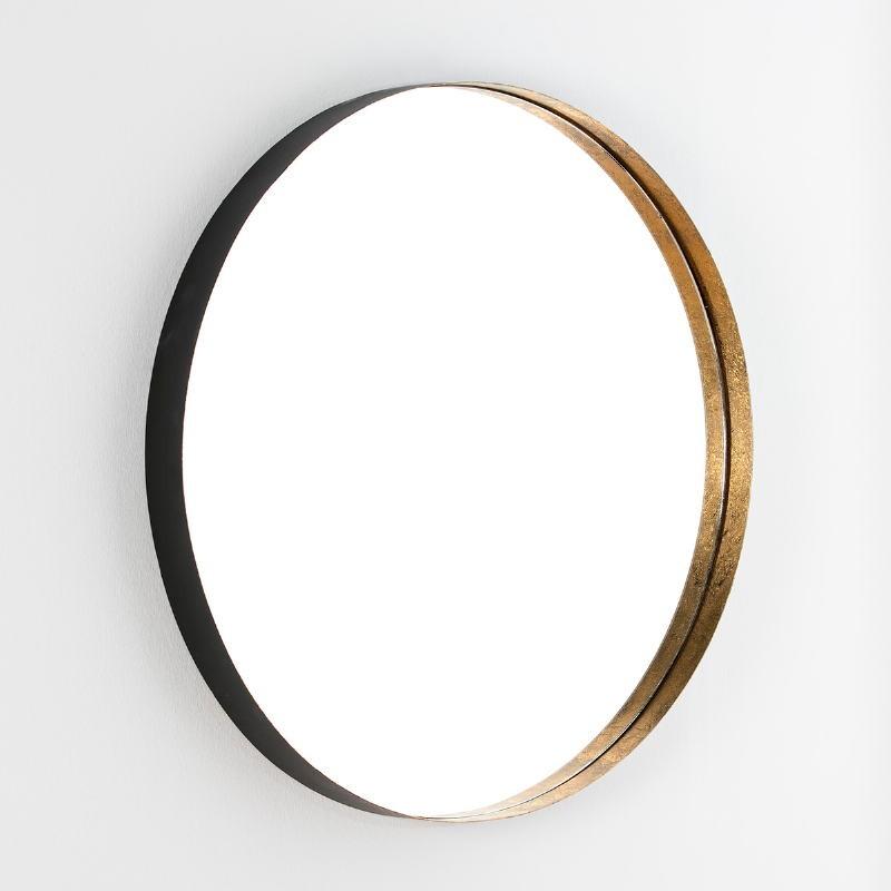 Mirror 90X6X90 Glass Metal Gold Leaf Black