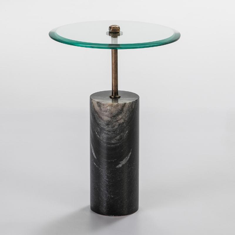Table d'appoint, bout de canapé 39x39x57 Verre Métal Marbre Noir