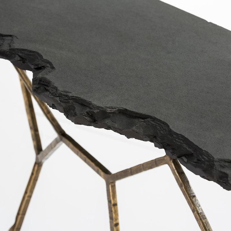 Consola 130X41X77 Piedra Negro Hierro Forjado Dorado - image 53065