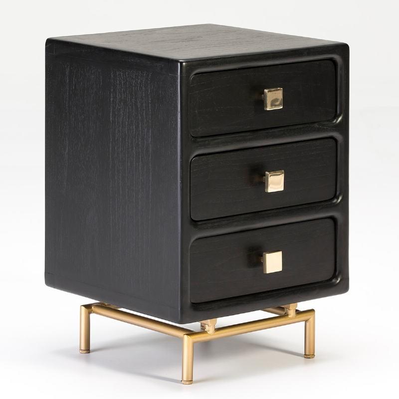 Table de chevet 3 tiroirs 42x40x60 Métal Doré Bois Noir