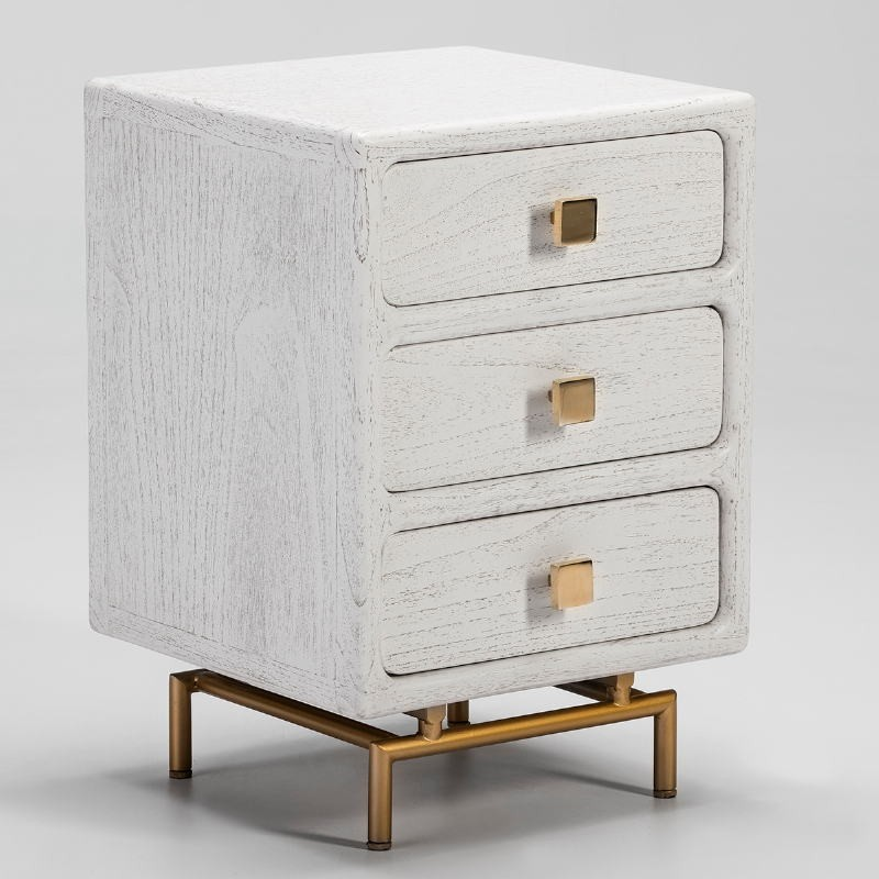 Bedside Table 3 Drawers 42X40X60 Metal Golden Wood White - image 53072