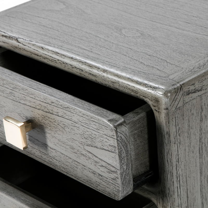 Bedside Table 3 Drawers 42X40X60 Metal Golden Wood Grey - image 53075