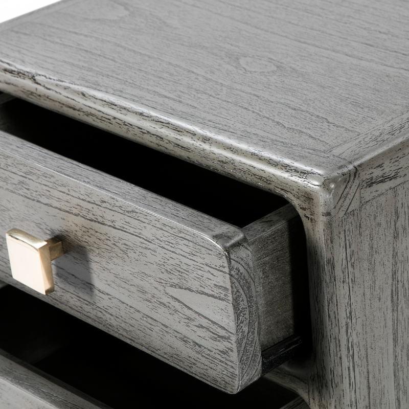 Table de chevet 3 tiroirs 42x40x60 Métal Doré Bois Gris - image 53075
