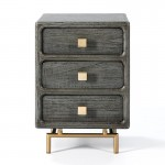 Bedside Table 3 Drawers 42X40X60 Metal Golden Wood Grey