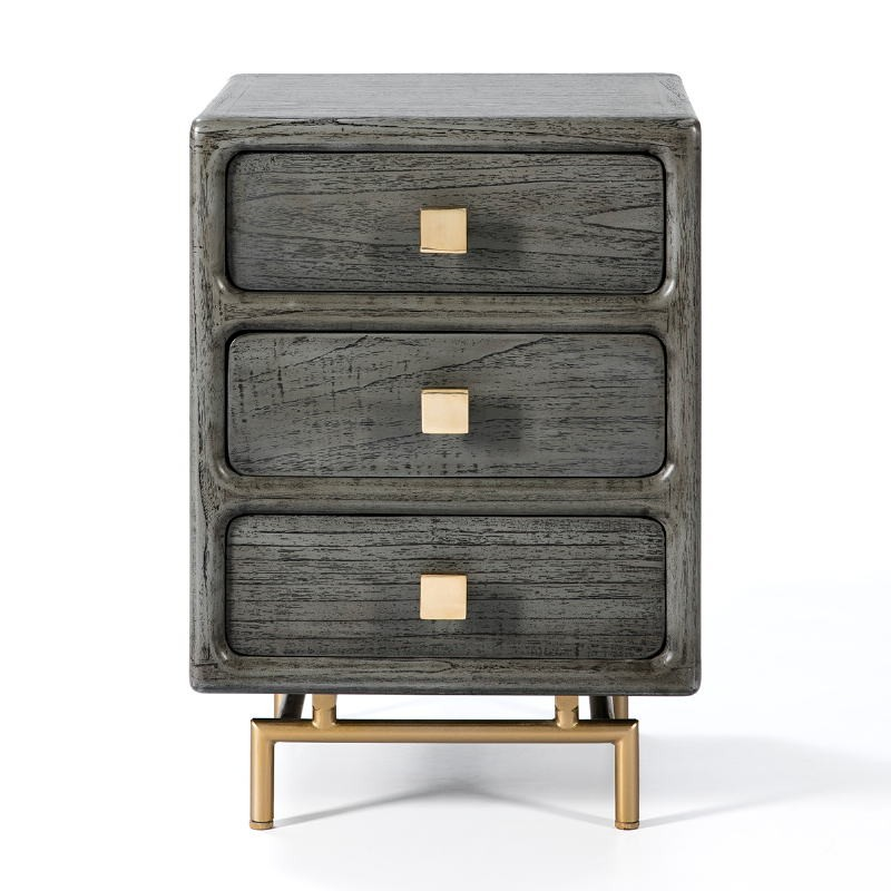 Bedside Table 3 Drawers 42X40X60 Metal Golden Wood Grey - image 53077