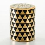 Stool 33X33X43 Ceramic Golden Black