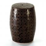 Stool 32X32X43 Ceramic Black Cream