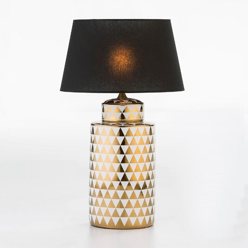 Lampada Da Tavolo Senza Paralume 23X23X51 Ceramica Dorato Bianco