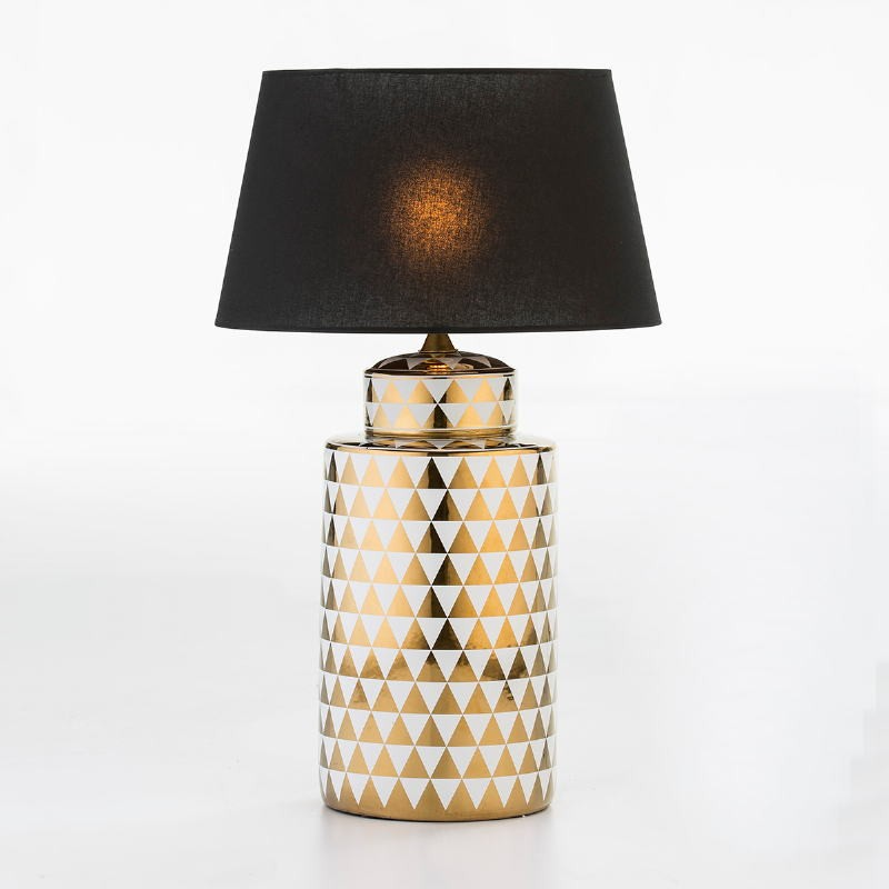 Table Lamp Without Lampshade 23X23X51 Ceramic Golden White