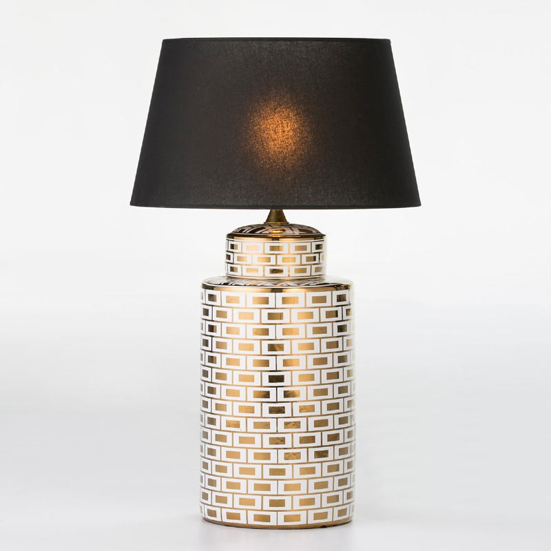 Table Lamp Without Lampshade 23X23X51 Ceramic White Golden Model 2 - image 53093