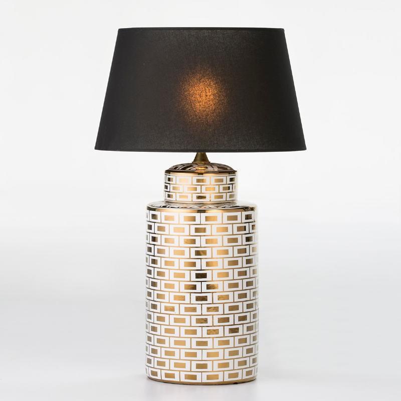 Lampe de Table sans abat-jour 23x23x51 Céramique Blanc Doré Modèle 2 - image 53093