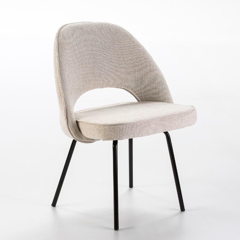 Chaise 54x58x80 Métal Noir tissu Blanc Cassé