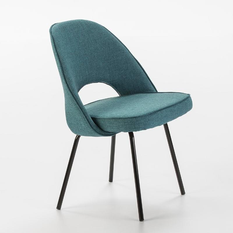 Chaise 54x58x80 Métal Noir tissu Bleu