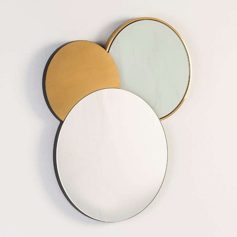 Mirror 54X3X65 Glass False Marble Metal Golden - image 53117