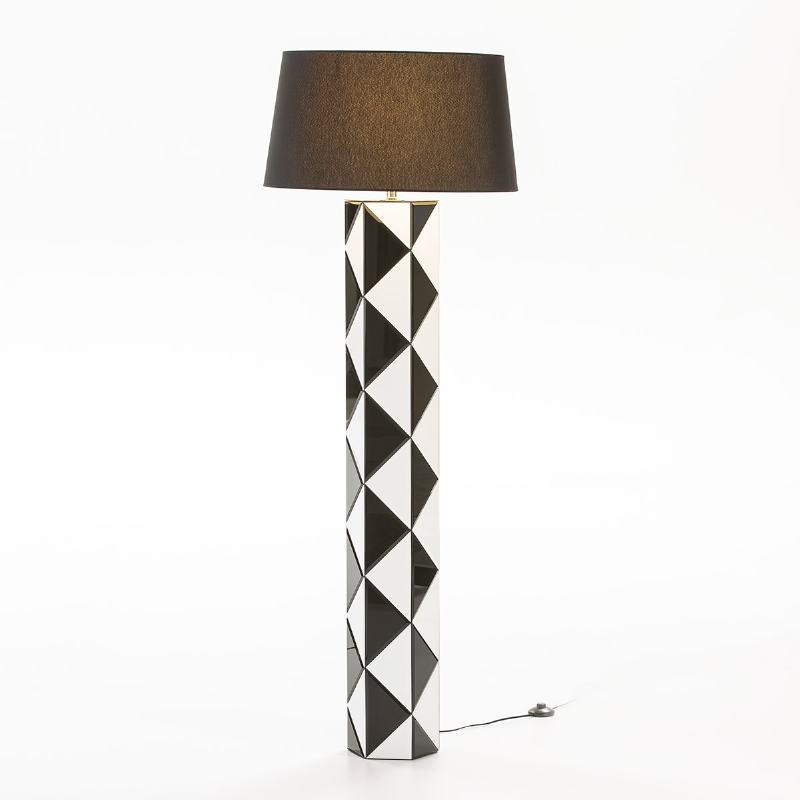 Stehlampe Ohne Schirm 23X20X140 Glas Weiß/Schwarz