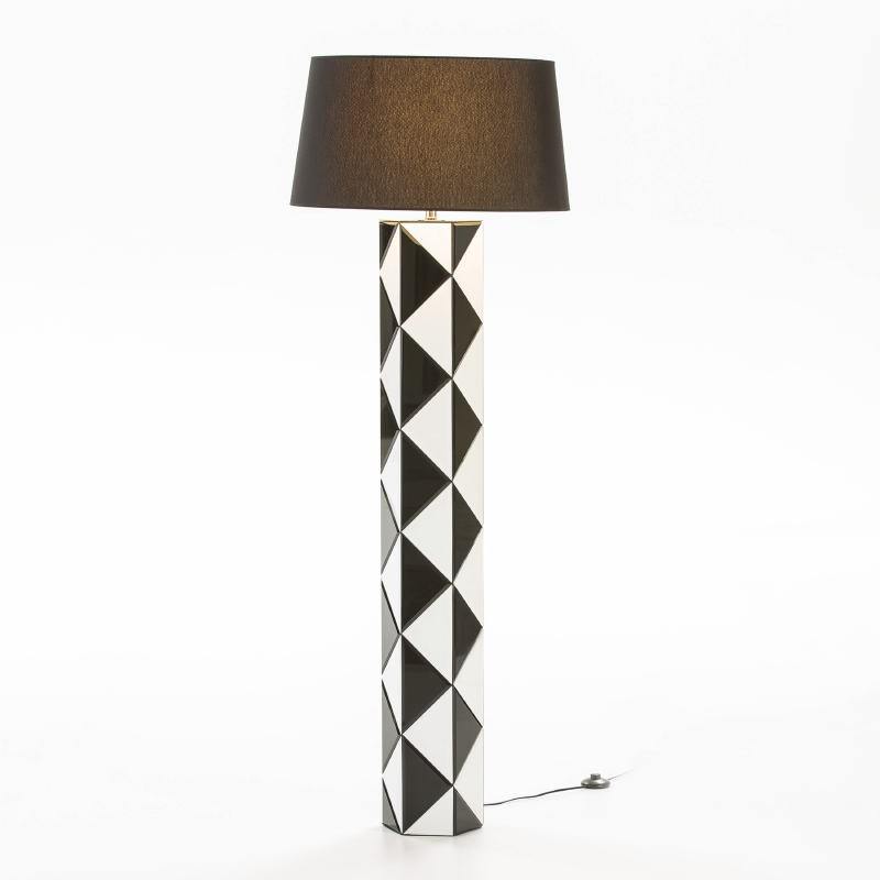 Standard Lamp Without Lampshade 23X20X140 Glass White Black - image 53121