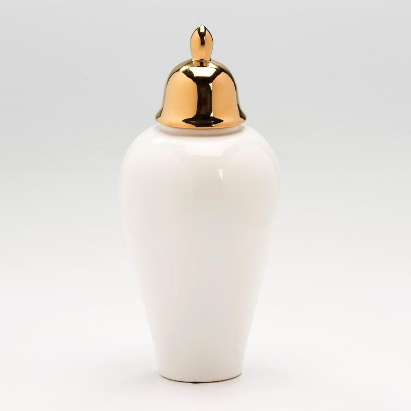 Tibor 17X17X37 Keramik Weiß/Golden - image 53135