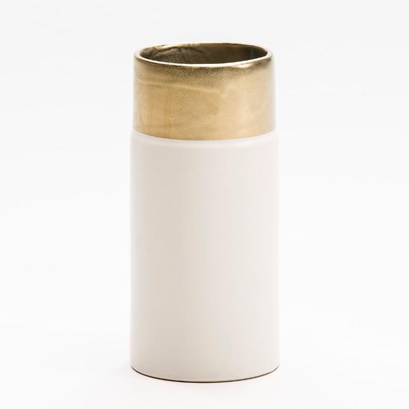 Vase 11X11X24 Keramik Weiß/Golden - image 53139