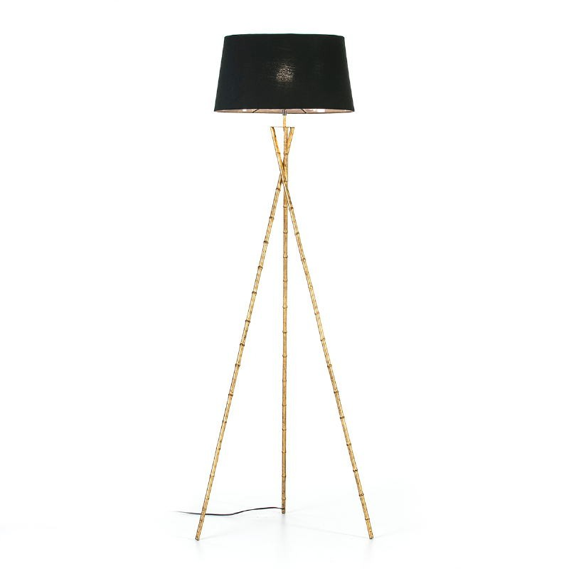 Lampadaire 60x60x180 Métal Doré avec abat-jour Noir