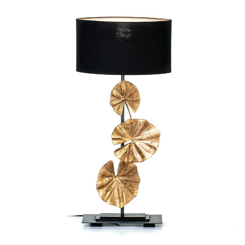 Table Lamp 30X15X78 Metal Golden Black With Lampshade Black - image 53152