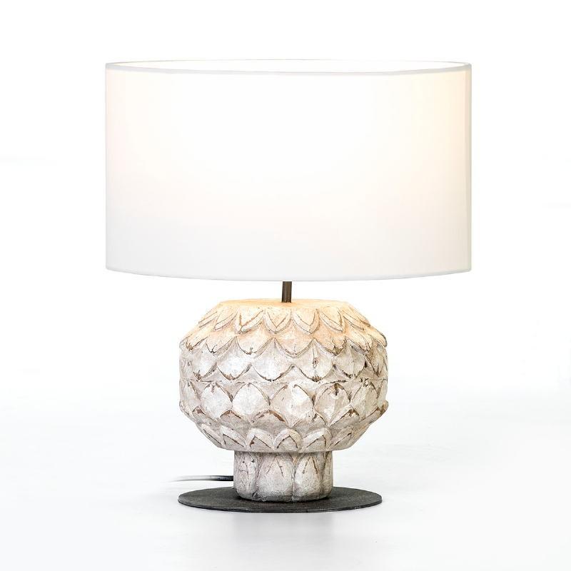 Lampe de Table 20x20x43 Métal Bois Blanc avec abat-jour Blanc - image 53154