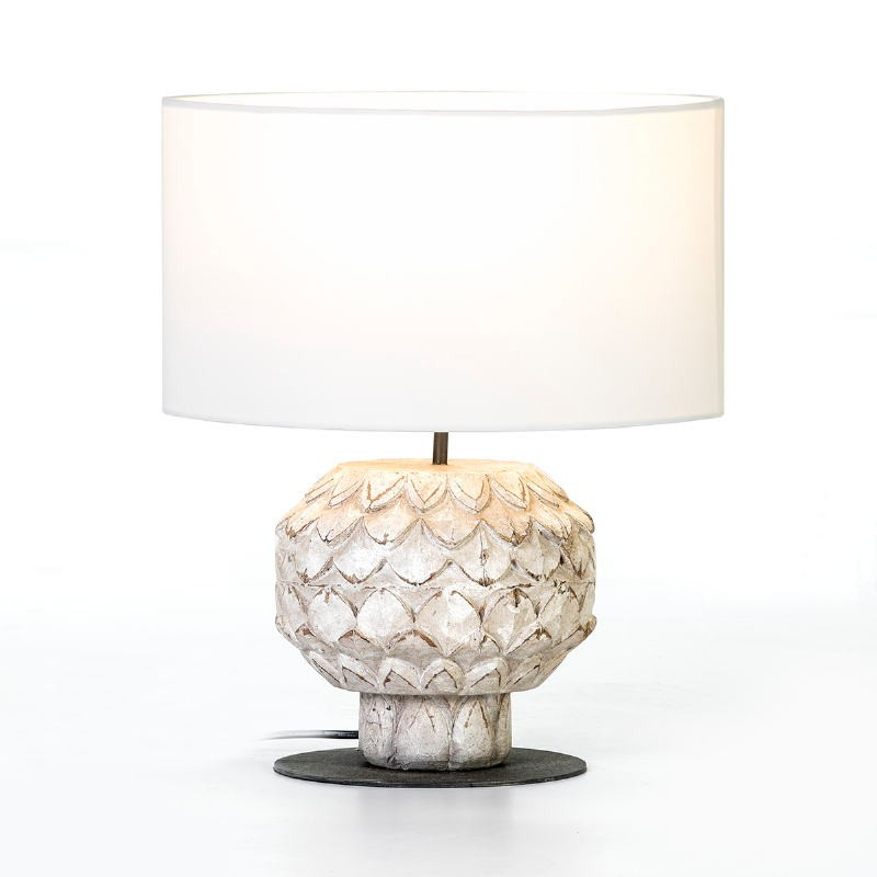 Table Lamp 20X20X43 Metal Wood White With Lampshade White - image 53154