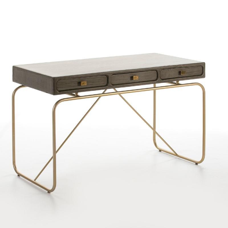 Schreibtisch 120X60X76 Metall/Holz Golden/Grau