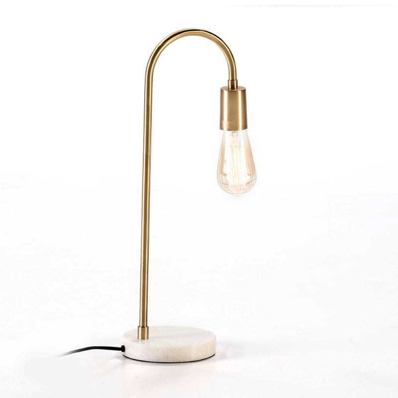 Lampe de Table 24x15x50 Marbre Blanc Métal Doré