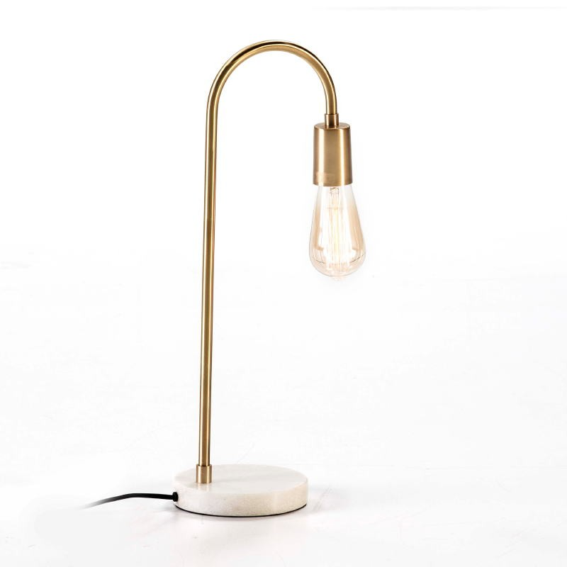 Table Lamp 24X15X50 Marble White Metal Golden