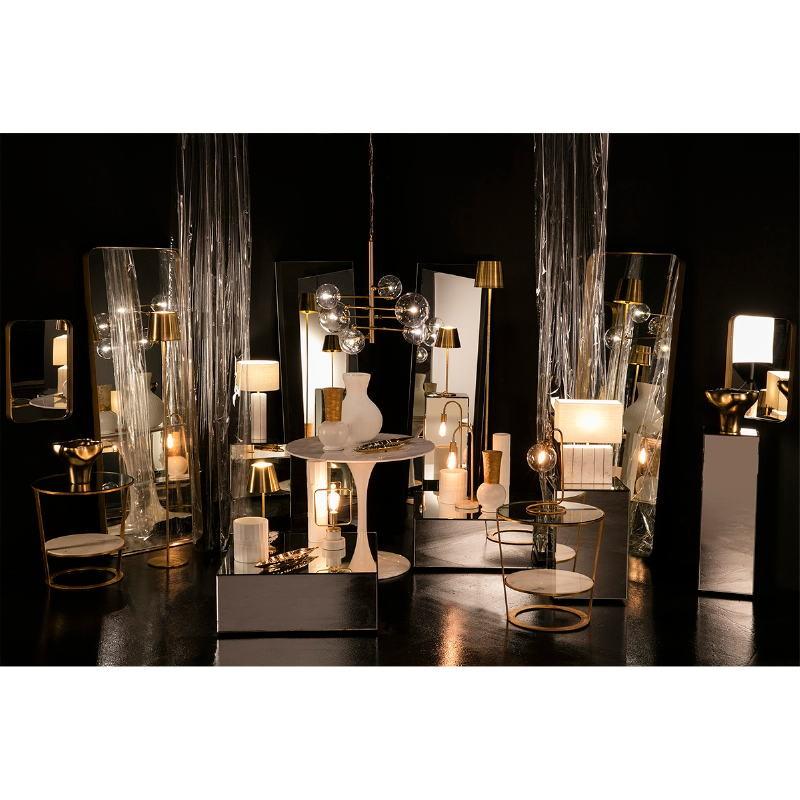 Lampe de Table avec abat-jour 27x8x29 Marbre Blanc Métal Doré - image 53191