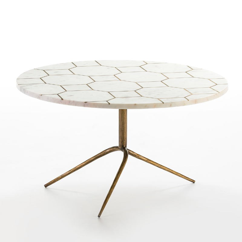 Coffee Table 82X82X44 Metal Golden Marble White
