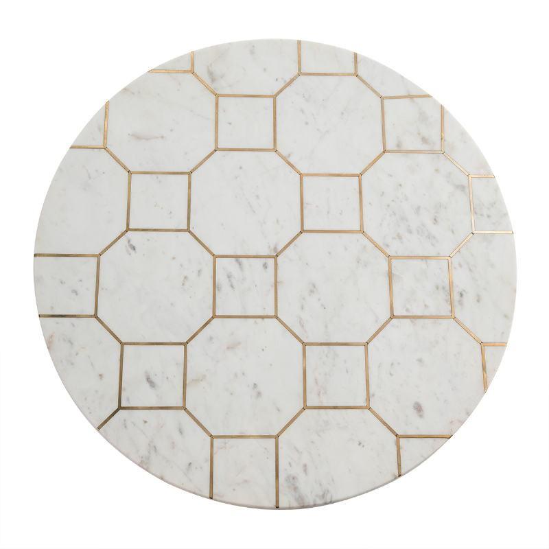 Table basse 82x82x44 Métal Doré Marbre Blanc - image 53203