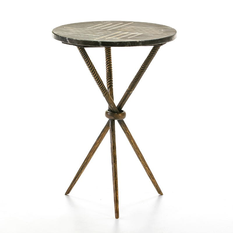 Side Table 40X40X58 Metal Golden Marble Black - image 53207
