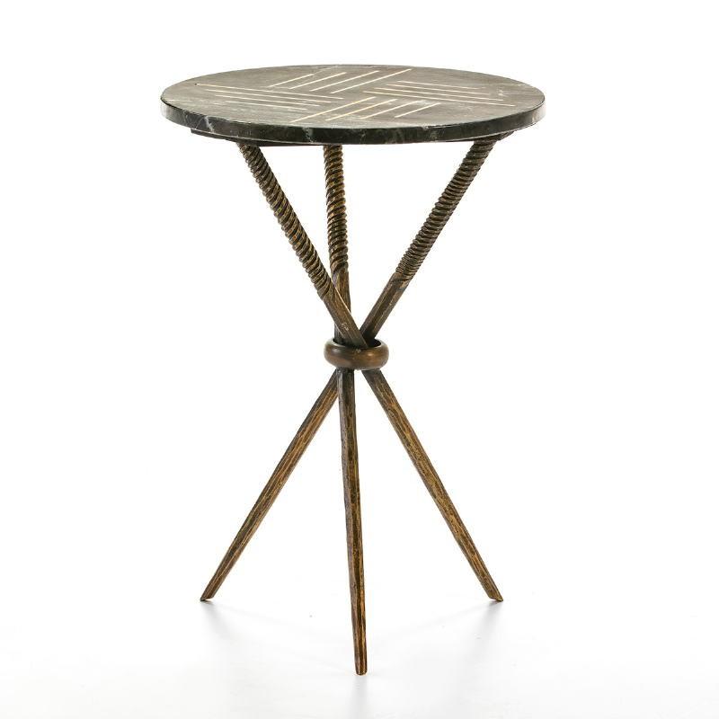 Table d'appoint, bout de canapé 40x40x58 Métal Doré Marbre Noir