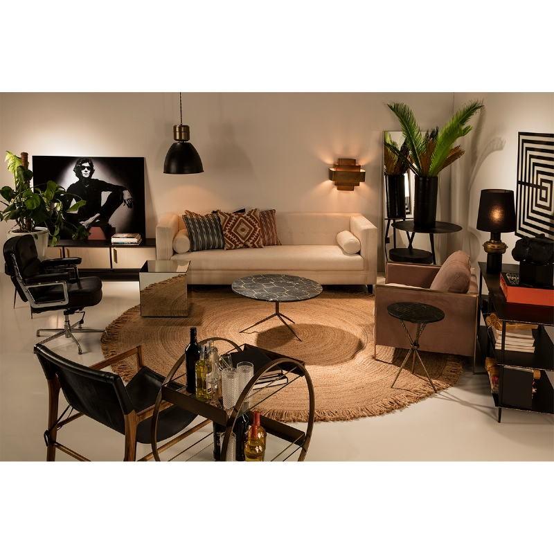 Table d'appoint, bout de canapé 40x40x58 Métal Doré Marbre Noir - image 53208