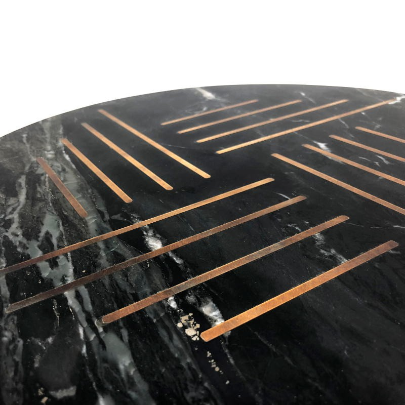 Side Table 40X40X58 Metal Golden Marble Black - image 53210